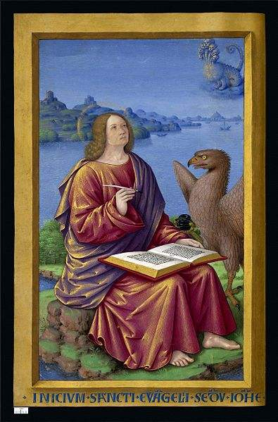 St. John the Evangelist, pictured with an eagle, in exile on the island of Patmos, writing the book of Revelations.