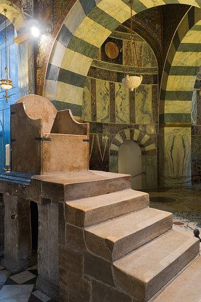 Throne of Charlemagne in Aachen Cathedral, Germany.