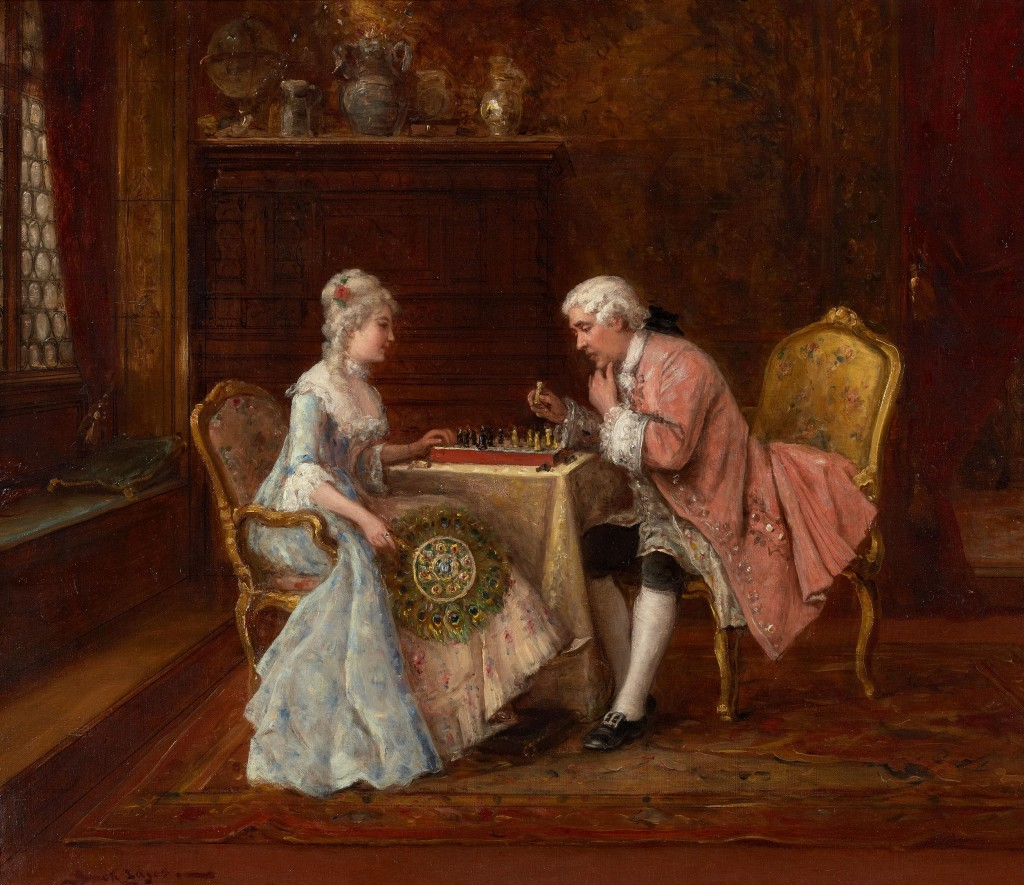 playing chess painting by Joseph Caraud