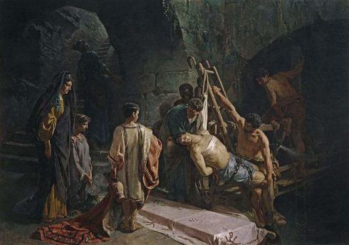 Lucina and friends removing the body of St. Sebastian from the sewer.
