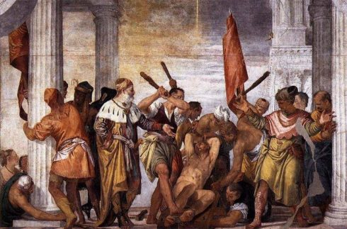 St. Sebastian being clubbed to death. Martyrdom of St. Sebastian by Paolo Veronese.