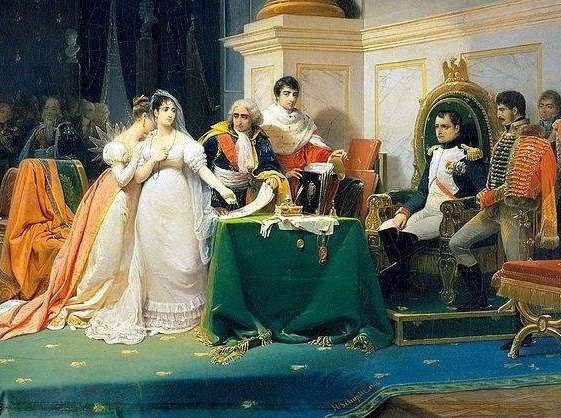 Napoleon divorcing  Josephine, since she did not provide an heir. Painting by Henri-Frédéric Schopin