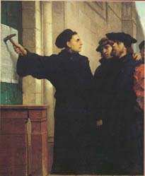 October 1517, Luther posted the ninety-five theses, which he had composed in Latin, on the door of the church in Wittenberg.