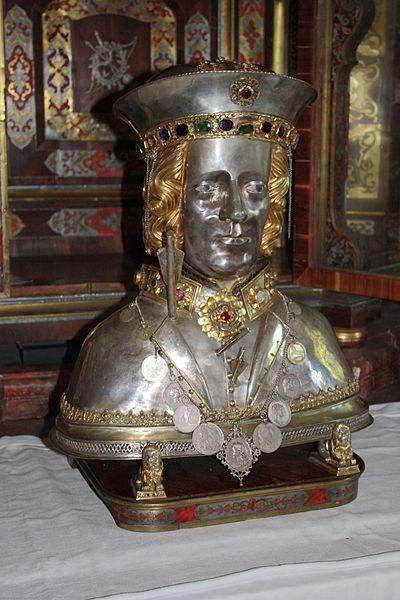 The skullcap reliquary of Saint Sebastian in the Church St. Sebastian in Ebersberg, Bavaria, Germany. Photo by J. Patrick Fischer.