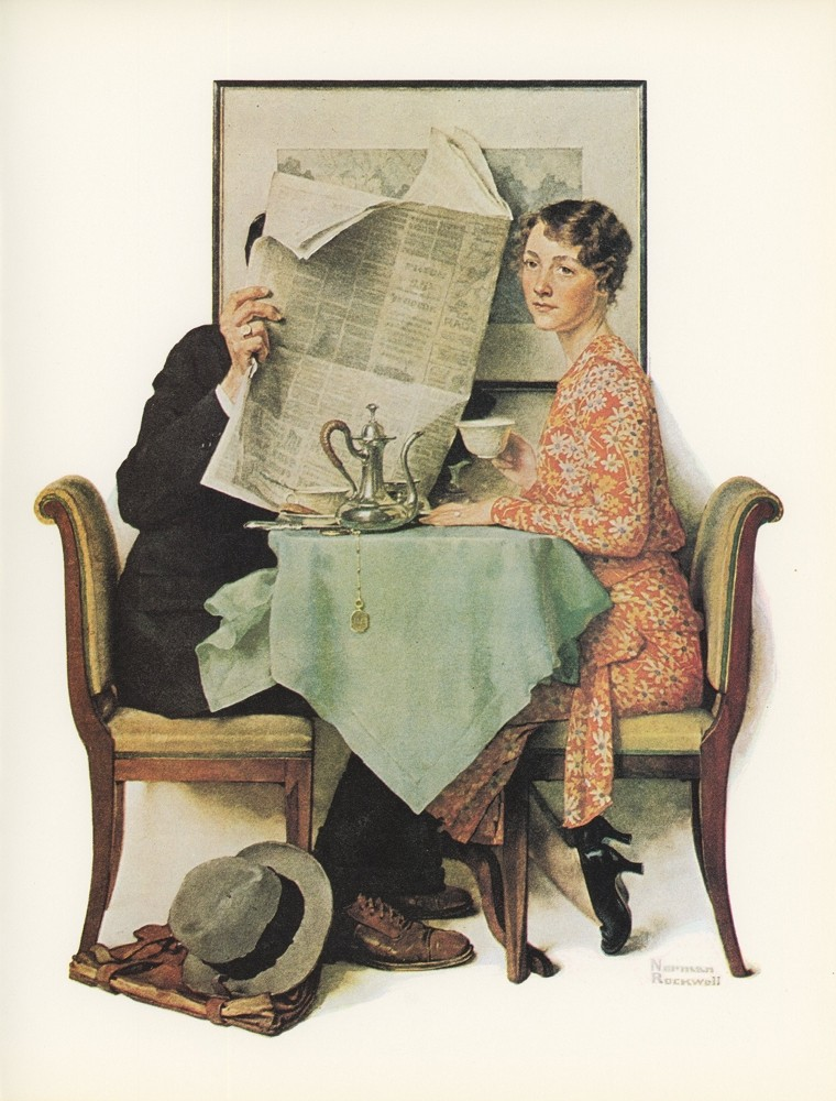 "Norman Rockwell's ""Breakfast Table"" or ""Behind the Newspaper."""