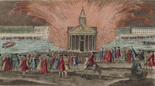 Fireworks display of May 30, 1770 for the wedding of Louis XVI & Marie Antoinette.