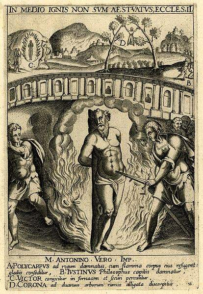 Martyrdom scenes with St Polycarp being burned and stabbed in foreground, St Justin being beheaded in right background, St Corona tied to two tree in central background, St Victor of Siena being burned and stabbed with an axe in left background; letters A-D within composition indicating different scenes.