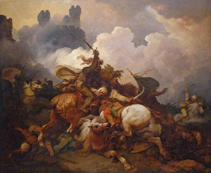 Painting by Philip Jacques de Loutherbourg of the Battle between King Richard I Lionheart and Saladin at Saint-Jean d'Acre.