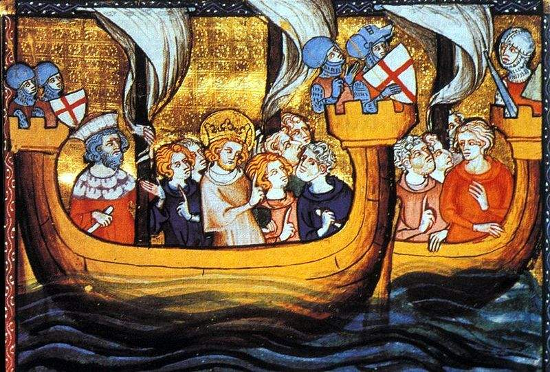 King St. Louis IX on a ship departing from Aigues-Mortes, for the Seventh Crusade.