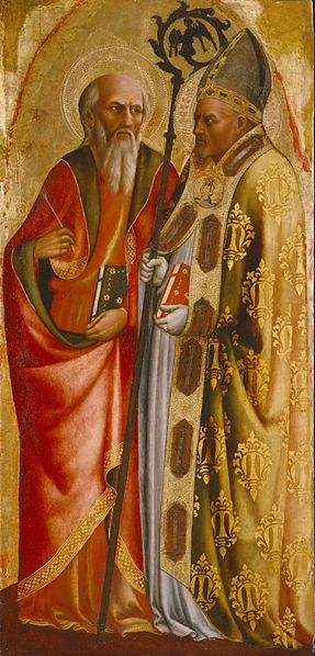 John the Evangelist and Pope Martin V, painting by Masolino da Panicale.