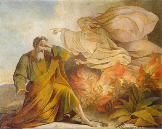God Appears to Moses in Burning Bush. Painting from Saint Isaac's Cathedral, Saint Petersburg.