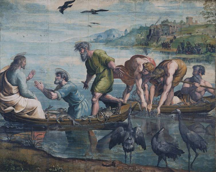 "Painting by Raphael when Our Lord told St. Peter to cast down the nets. The boats being filled with fish to the point of sinking...""When Simon Peter saw it, he fell down at Jesus' knees, saying, Depart from me; for I am a sinful man, O Lord."""