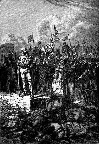Richard Çœur de Lion having the Saracens beheaded.