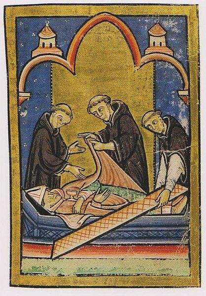 Depicting the miracle where St. Cuthbert's body is discovered to be incorrupt.