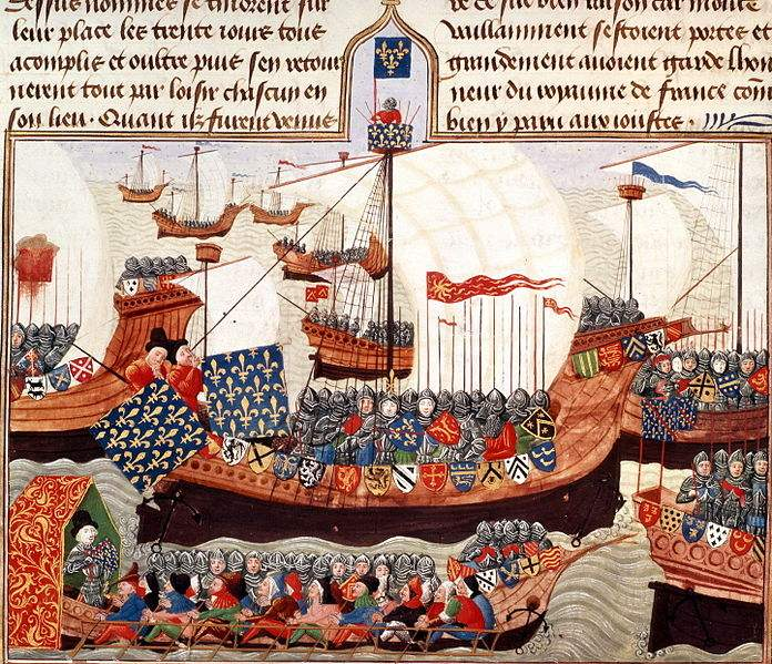 Mahdian Crusade 1390: The Crusade-fleet with her leader, the Duke of Bourbon, and the Oriflamme.
