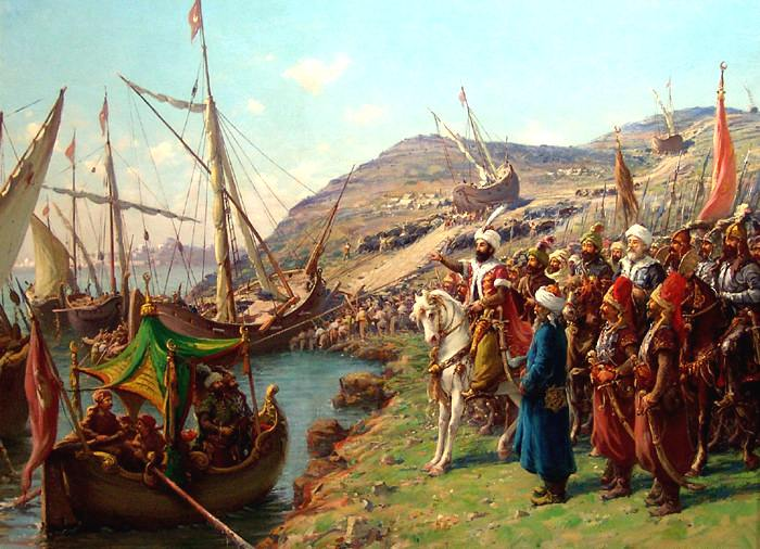 Mehmed II at the siege of Constantinople, ordering that the ships be transported overland.