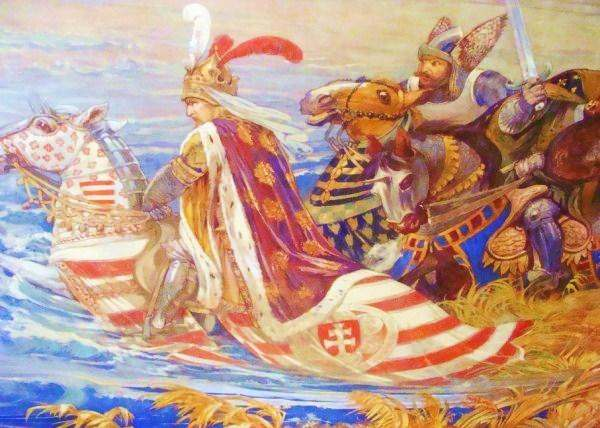 King Sigismund of Hungary during the battle of Nicopolis in 1396. Painting by Ferenc Lohr. Main hall of the Castle of Vaja.