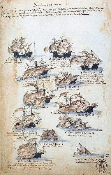 Twelve of 13 ships that were part of Cabral's fleet are depicted. Many were lost, as can be seen in this drawing from Memória das Armadas, c.1568