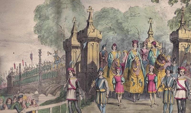 Eglinton Tournament Bridge and procession in 1839