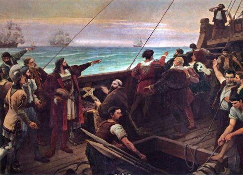 Pedro Álvares Cabral sees the land that would later be known as Brazil for the first time. Painting by Aurélio de Figueiredo.