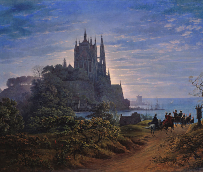 Gothic Cathedral on a rock by the sea. Painting by Karl Friedrich Schinkel.