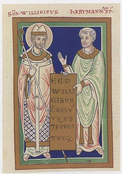 Saint Willigis and Provost Hartmann, 12th century depiction, Russian State Library
