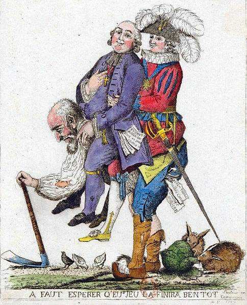 """""""You should hope that this game will be over soon."""" Caricature of the Third Estate carrying the First Estate (clergy) and the Second Estate (nobility) on its back."""