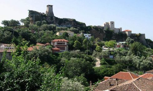 The remains of the castle above of city of Kruja, Albania.