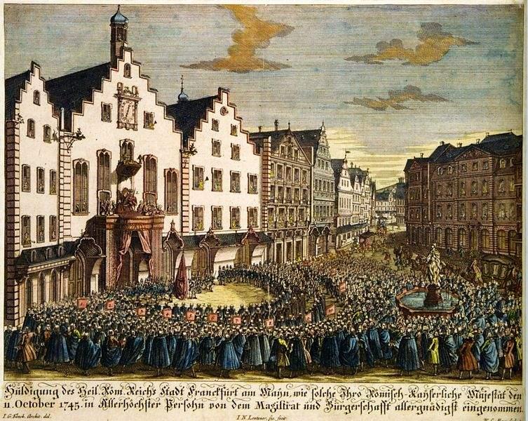Homage of the Frankfurt citizens to Francis I on the occasion of his election as Holy Roman Emperor.