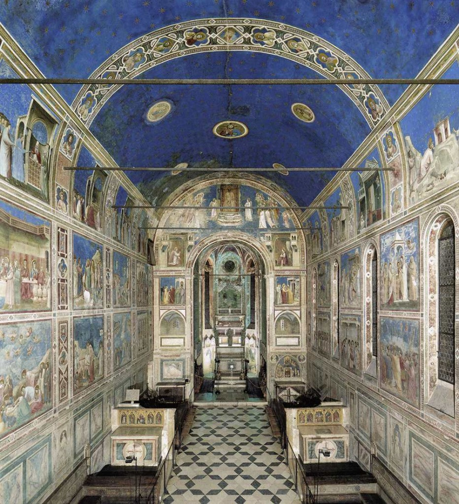 The Chapel entrance to the Frescoes in the Cappella Scrovegni (Arena Chapel), Padua by Giotto.