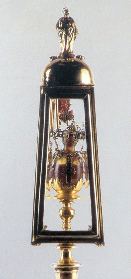 A reliquary containing some blood and flesh of St. Pantaleon. The reliquary, along with other relics, is housed at the Royal Convent of La Encarnación in Madrid, Spain.