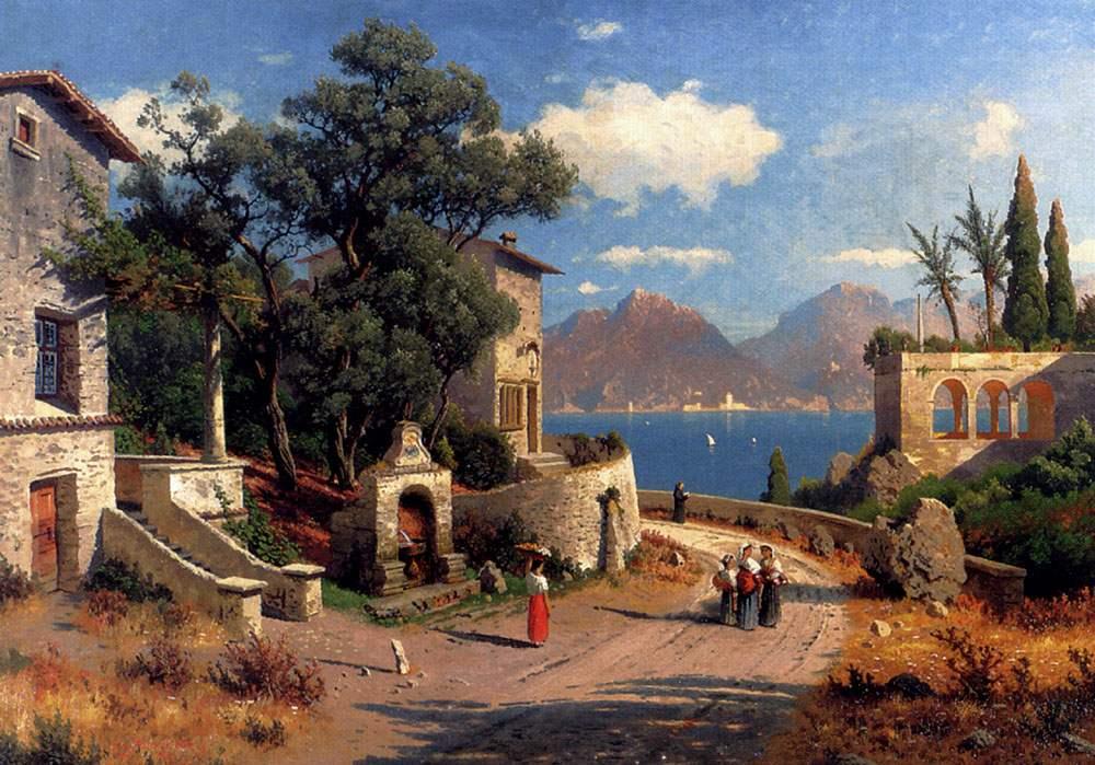 Carl Gustav Rodde An Italian Village By A Lake