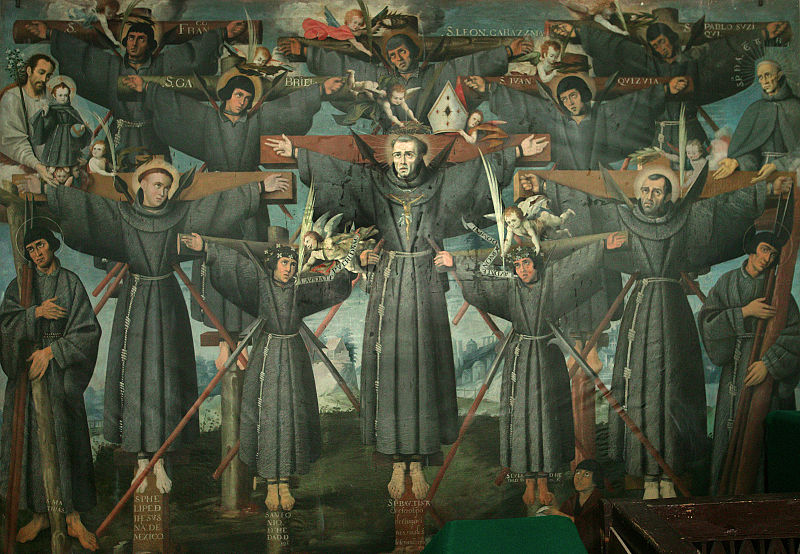 The Martyrs of Nagasaki, Japan on on February 5, 1597. Painted by Cuzco School.