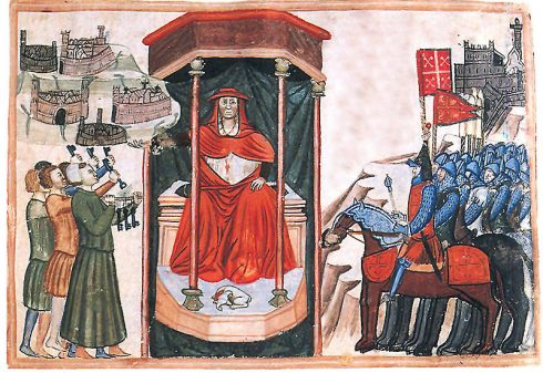 miniature showing Cardinal Albornoz receiving the keys of the subject Italian cities.