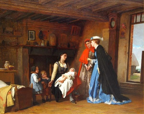 Visiting the fisherman's widow by Charles Baugniet