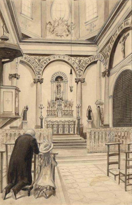 St. Therese and her father in Church at Carmel.
