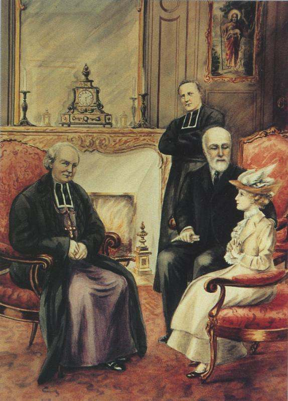 St. Thérèse and her father with Bishop Hugonin.