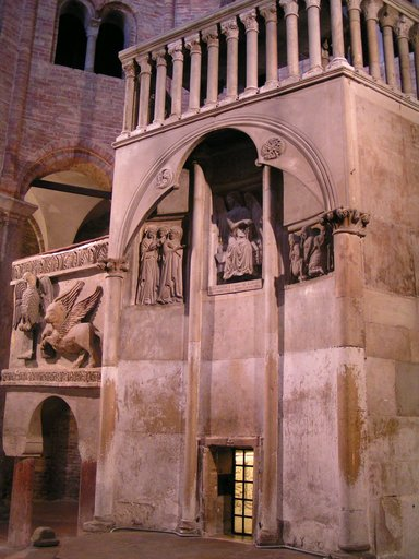 """the old pulpit, within the building called """"Basilica del Santo Sepolcro"""". According to tradition St. Petronius built the Basilica over a temple of the goddess Isis. The saint wished to have a building that recalled the Church of the Holy Sepulchre in Jerusalem."""