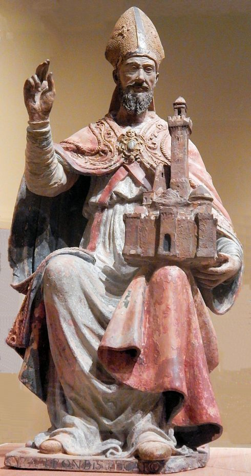 """Early 16th Century Italian statue of St. Petronius at the Joslyn Art Museum in Omaha, Nebraska. He is represented holding the city of Bologna, of which he is the patron Saint of and at the bottom is written in Latin, """"Pray for us sinners."""""""