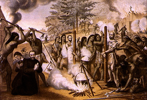 The Jesuits martyrs of Canada: Jean de la Lande, Isaac Jogues, Jean de Brébeuf, Charles Garnier, René Goupil, Gabriel Lalemant, Noël Chabanel, Antoine Daniel.