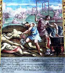 The martyrdom of St Ralph Sherwin and companions from a painting in the tribune of the English College Church.