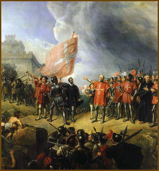 Philippe de Villiers de l'Isle Adam takes possession of the island of Malta, 26 October 1530 by René Théodore Berthon.