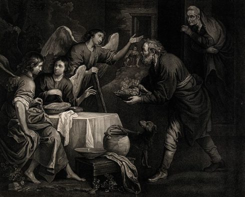 Abraham gives food to the three angels.