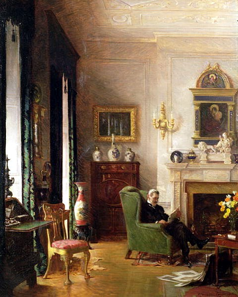 The Grey Drawing Room 1917 by Albert Chevallier Tayler.