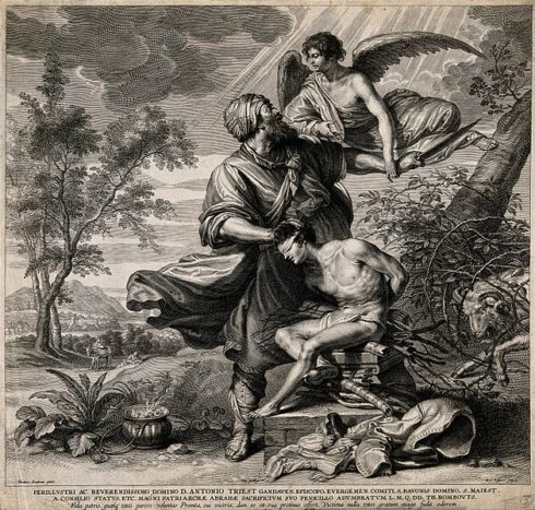 The angel intervenes as Abraham prepares to sacrifice Isaac.