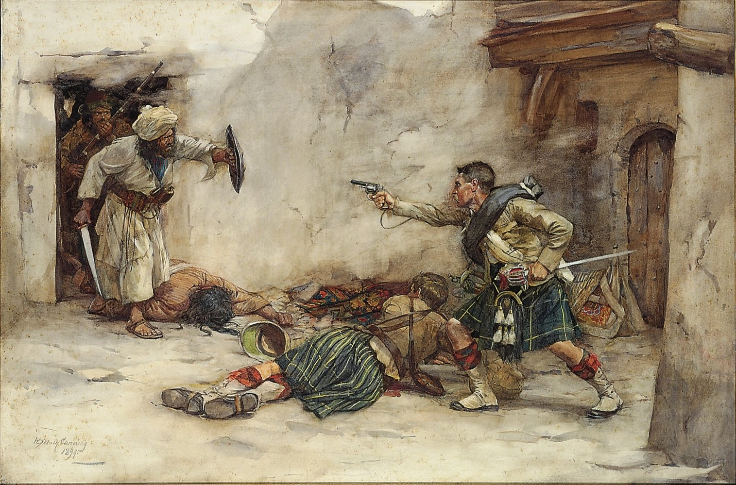 William Skeoch Cumming - Drummer James Roddick of the 92nd Gordon Highlanders Defending Lieutenant Menzies during hand-to-hand fighting in the Battle of Kandahar, 1880.