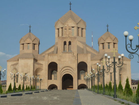 Saint Gregory the Illuminator Cathedral in Yerevan is the largest Armenian Church in the world and contains the remains of St Gregory.