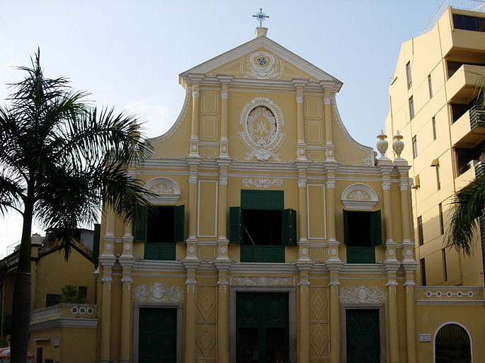 St. Dominic's Church in Macau. The church was established in 1587 by three Spanish Dominican priests who arrived from Acapulco, Mexico.