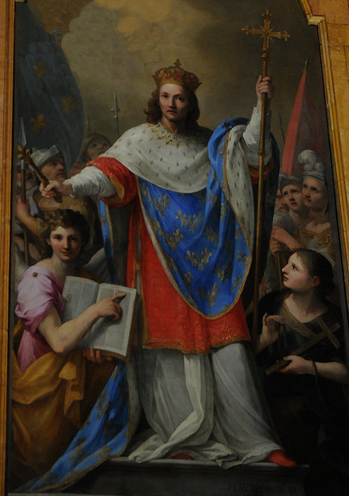 Painting of King St. Louis IX of France in the church Saint Louis of the French in Rome, Italy.