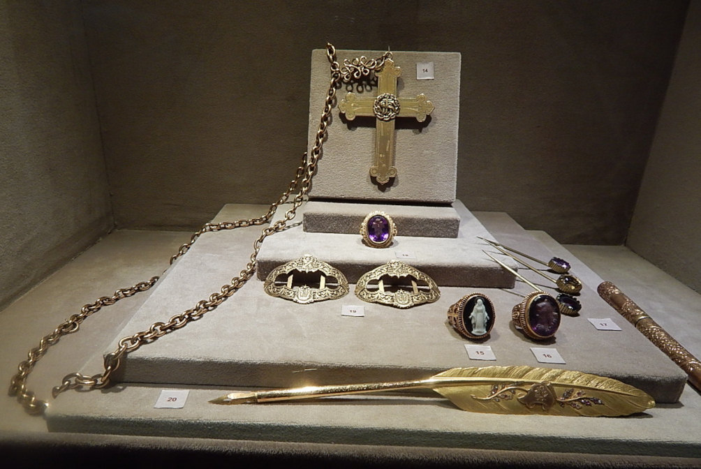 The pectoral cross, rings, buckle of various Archbishops of São Paulo, Brazil. On display at the Museum of Sacred Art of São Paulo.